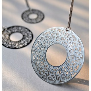 White steel pendant Series │ │ gluttonous ornamentation containing small necklace chain - not allergic do not rust does not oxidize