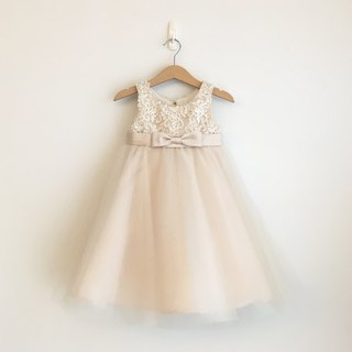 Champagne Empire Waist Dress with Lace and Bow