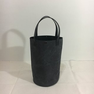 Simple bucket bag, washed iron ash hand-stitched leather