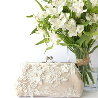 Bridal Clutch with Magnolia Flower Vine Lace in Champagne