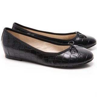 [Saint Landry] LAND crocodile pattern bow ballet shoes (black)