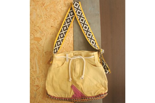 "EARTH.er  │  ●  ""Yellow"" Natural Dyed Big Skirt Bag│"