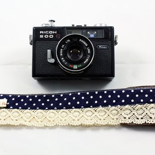 Hand-made monocular Class SLR camera strap decompression Camera back rope --- dark blue lace little money