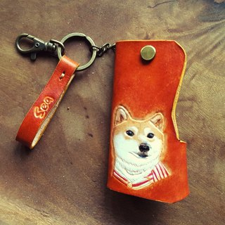 Custom-made dog small firewood British brown pure leather key bag (Valentine, birthday gifts)