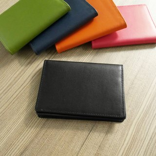 Colorful series - leather business card holder / black calm