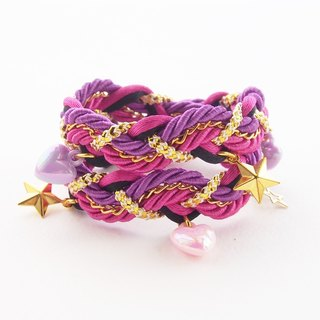 ♥ ELBRAZA ♥ Pink double stand bracelet with heart and star cham.