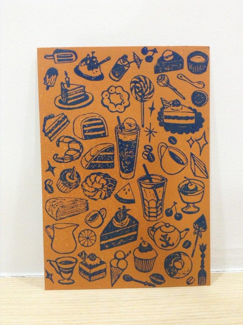 甜點控-手工版印明信片
