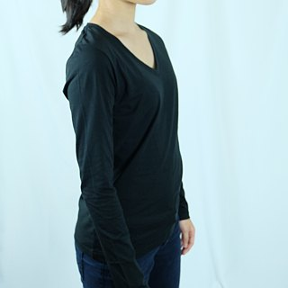 Gain Giogio female models solid V-neck long-sleeved 100% organic cotton T (vintage black)
