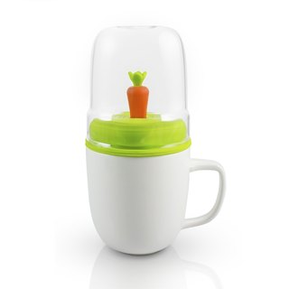 Dipper 1++ double cup group (white cup + green cover + carrot stir stick)
