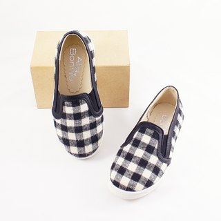 AliyBonnie Children's Shoes Made in Taiwan Lattice Loafers - Black and White