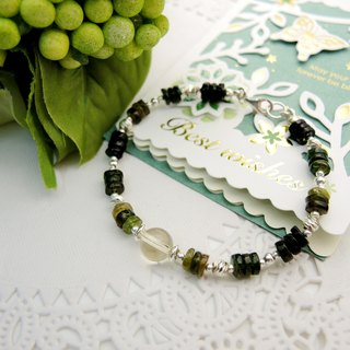 """Green Forest Green Forest"" yellow quartz yellow green tourmaline 925 sterling silver bracelet"