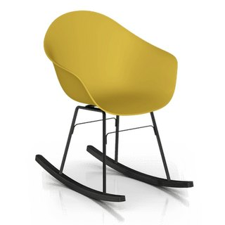 TOOU ArmShell oak rocking chair with black feet (Mustard Yellow)