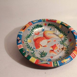 Vintage Made in Japan Tin Saucer antique Nippon goldfish iron plate