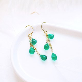 Natural Jade Drops Light Drop Earrings 14K GF Gift Natural Stone Light Jewelry Crystal