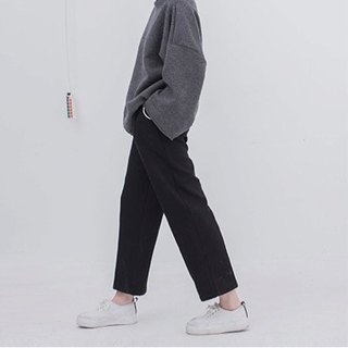 Black winter will enter the meat-burning version of the super good wool straight wide leg trousers long legs are not swollen