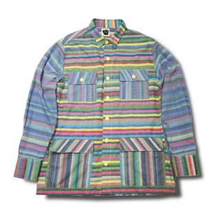 [Tofu] is satisfied Noddlefu large hand-colored striped shirt jacket