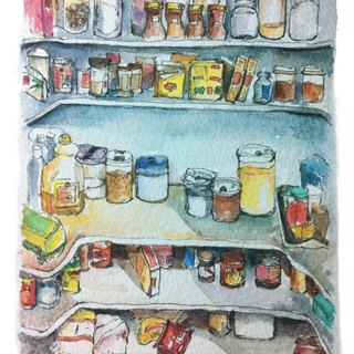 Hand-painted postcard groceries