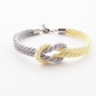 Young corn yellow and Light gray rope knot bracelet
