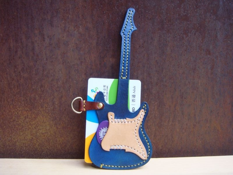 [ISSIS] handmade leather guitar rock shape travel card sets + Pick Storage