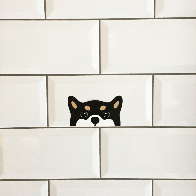 Peeping Dog Sticker - Black Shiba Inu •̀ ᴥ •́