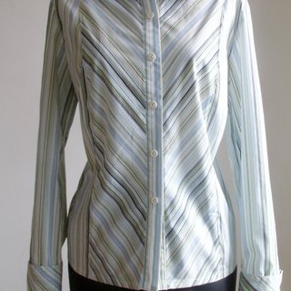 Striped long-sleeved shirt - blue-green tone