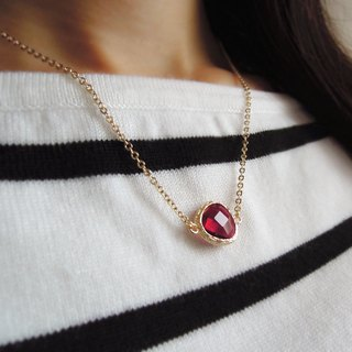 Gift, exquisite and noble, gold-plated edging glass, imitation gemstone, necklace, wine red (40cm / 16吋)