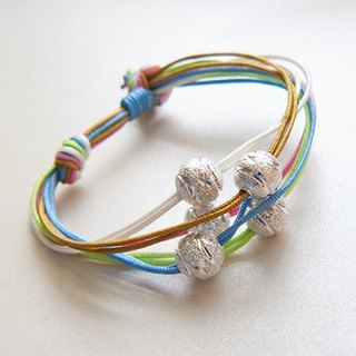 Tibetan silver five-color lucky rope bracelet (pure hand-made. Gifts. Jewelry. Possession of silver. Jewelry line. Five colors. Color. Lively. Fresh. Fun)