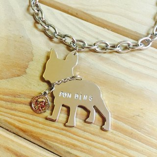 Oops French Bulldog Silhouette Stainless Steel Dog Dog Necklace - Christmas Present -
