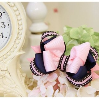 American style three-dimensional bow hairpin pink
