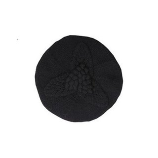 Black Virgin Wool Leaf Beret