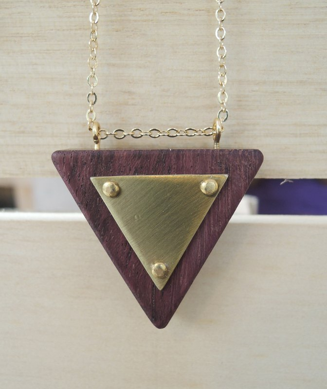 Inverted Triangle Wood Necklace - Brass - Purple Heartwood