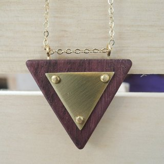 Inverted triangle wood necklace