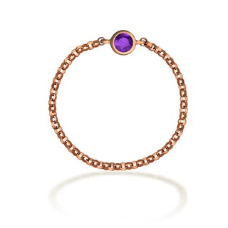 18K GOLD FEBURARY BIRTH STONE AMETHYST CHAIN RING