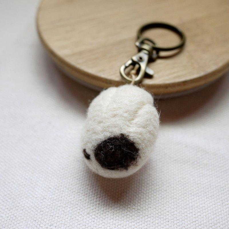 羊毛氈貓掌鑰匙圈-白底黑點點