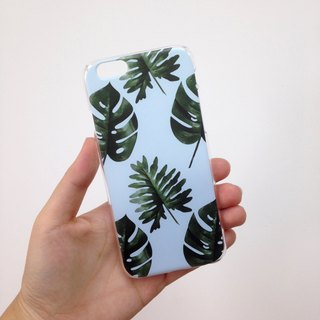 Blue summer leaves Print Soft / Hard Case for iPhone X,  iPhone 8,  iPhone 8 Plus, iPhone 7 case, iPhone 7 Plus case, iPhone 6/6S, iPhone 6/6S Plus, Samsung Galaxy Note 7 case, Note 5 case, S7 Edge case, S7 case