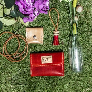 Do not hit the wine red three plus one tanned leather full leather multi-functional clutch