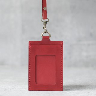 Red Handmade leather ID card case / holder/ badge holder
