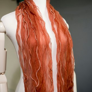 Plant dyed grass lace silk scarf