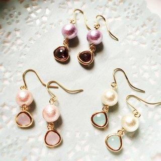 Cotton Pearl & Natural Stone Earrings
