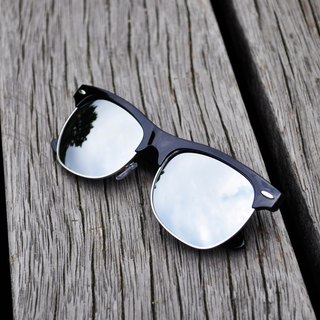 Sunglasses│Black Half Rim Frame│Silver Lens│ UV400 protection│2is SeanS8