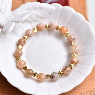 Gobi color agate * engraved gold-plated bead bracelet