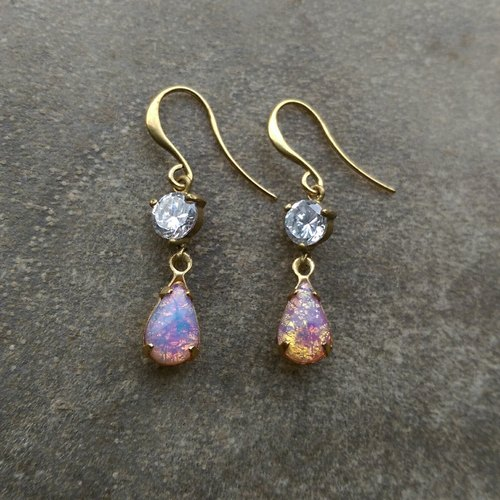 Pink retro psychedelic zircon earrings