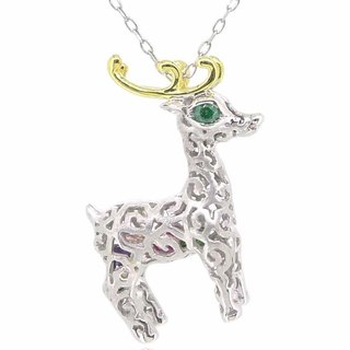 "HK053 ~ 925 silver Christmas deer modeling pendant (thin) with 18 ""silver necklace"