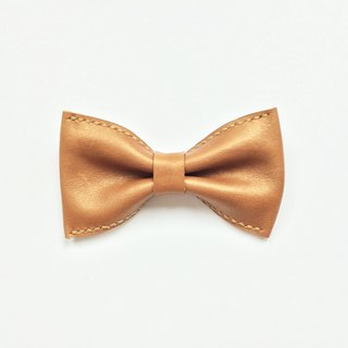 Italian vegetable tanned leather and gold bow tie Bowtie