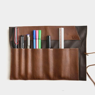 [Coconut sushi] leather pencil leather leather pencil case tool bag pen pen reel carved lettering when the gift Valentine's Day