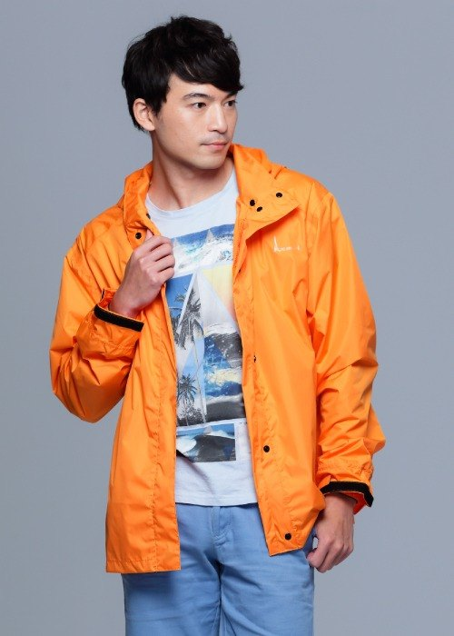 Paris Rainbow ~ simple reflective waterproof raincoat jacket / sun windbreaker / mountaineering / commuter / motorcycle / bright orange men