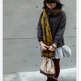 ﹝ Clare cloth hand-made vintage print ﹞ coffee bouquet mouth bucket bag