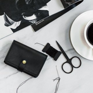 [ADOLE] leather hand made DIY set - business card holder - black
