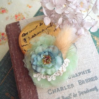 Garohands Melaleuca stone moss green rabbit tail grass pansy brooch F044 feel small roses gift