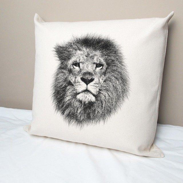 獅子 純棉帆布抱枕